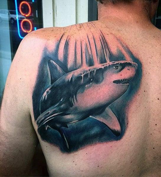 Japanese Shark Tattoo For Gentlemen On Back