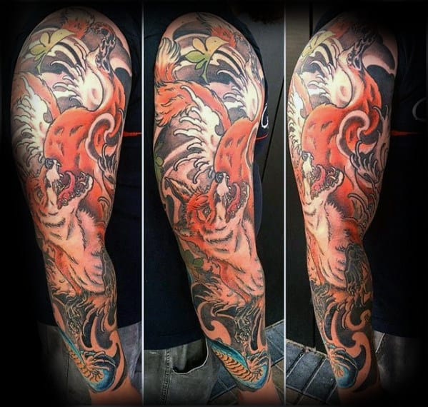 Japanese Sleeve Guys Kitsune Orange Fox Tattoos