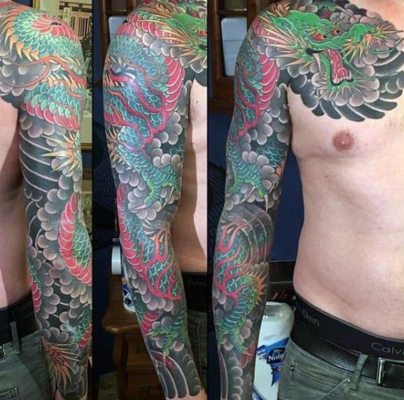 Japanese Sleeve Historic Green Dragon Tattoo For Men