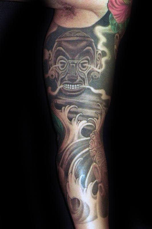 Japanese Sleeve Tattoo For Men With Taino Symbols