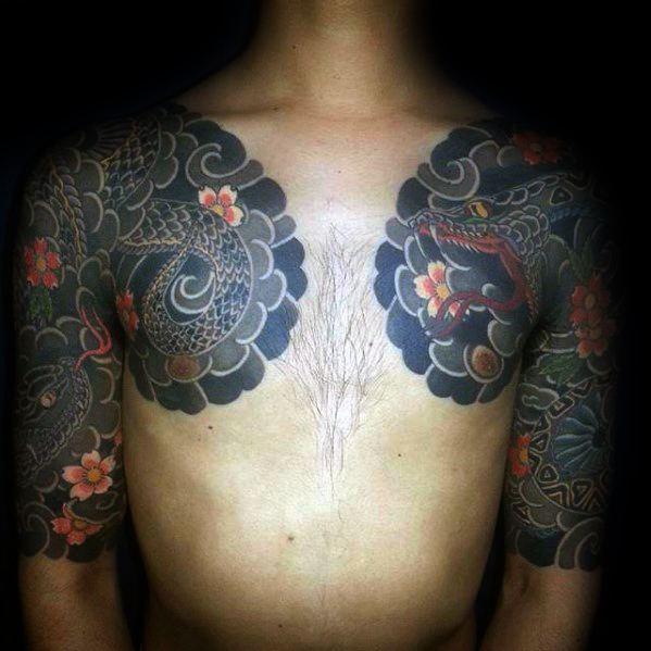 Japanese Snake Half Sleeve Tattoo Design Ideas For Males