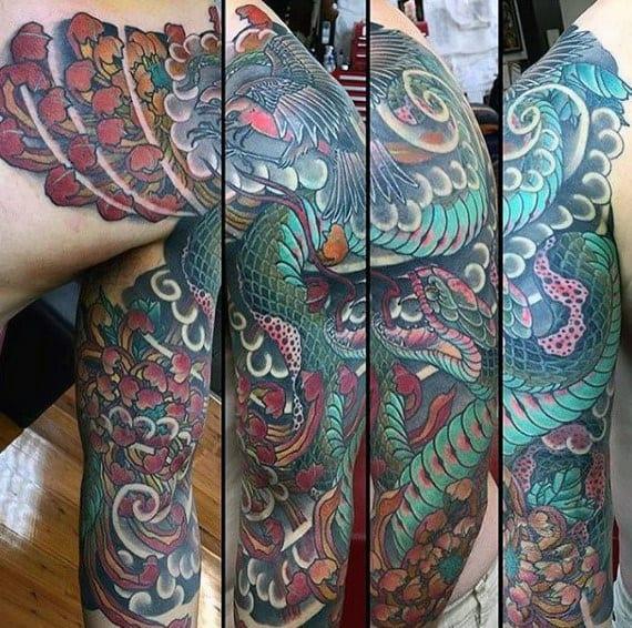 Japanese Snake Sleeve Tattoo Designs On Gentleman