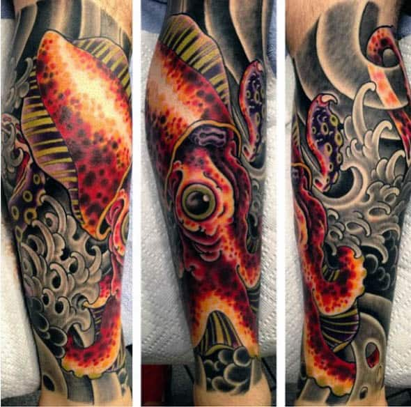 Japanese Style Mens Squid Tattoo Half Sleeve For Men