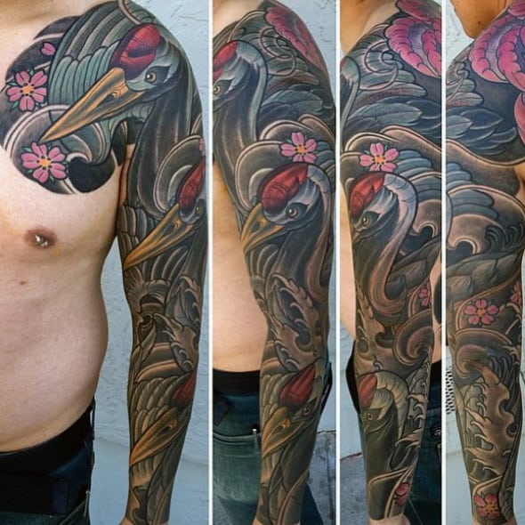 Japanese Swan Mens Unique Sleeve Tattoo Designs