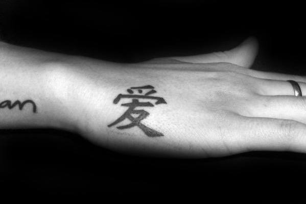 Japanese Symbol Side Hand Tattoos For Men