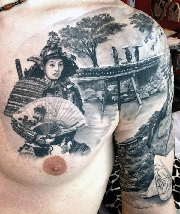 Japanese Tattoo Samurai On Men's Chest