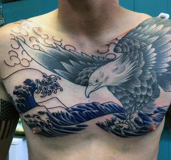 Japanese Tattoo Waves For Males With Eagle On Chest