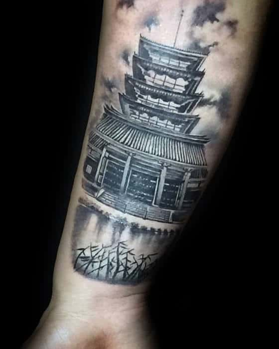 Japanese Temple Outer Forearm Shaded Tattoo Ideas For Guys
