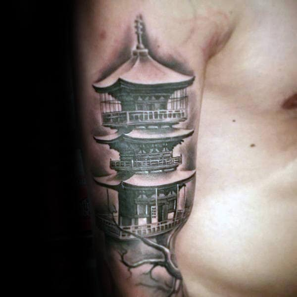 Japanese Tower Creative Mens Arm Tattoo Designs