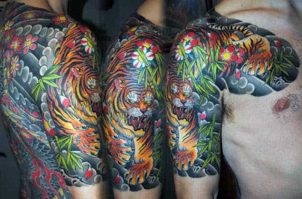 Japanese Traditional Colorful Mens Half Sleeve Bamboo Tattoo