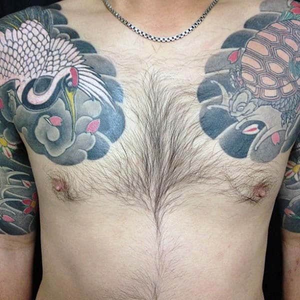 Japanese Turtle Mens Upper Chest Tattoo Design Inspiration