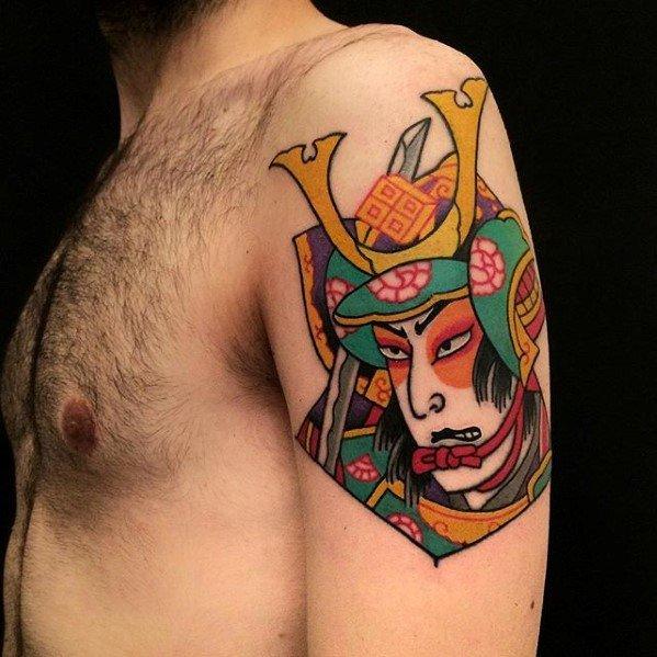 Japanese Upper Arm Mens Kite Tattoo Design Inspiration