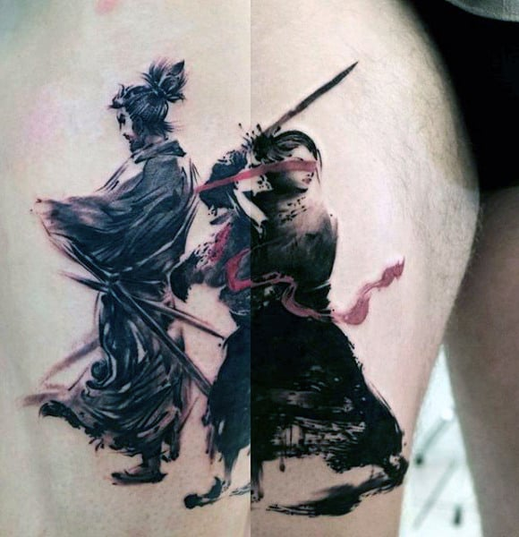 Japanese Warrior Brush Stroke Thigh Tattoos