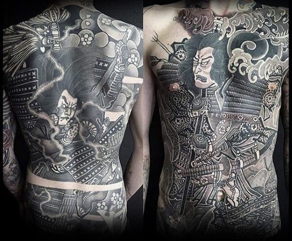 Japanese Warrior Guys Chest Tattoos