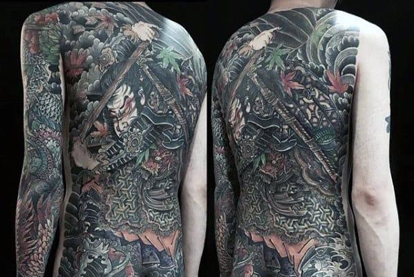Japanese Warrior Guys Full Back Detailed Tattoo Design Ideas