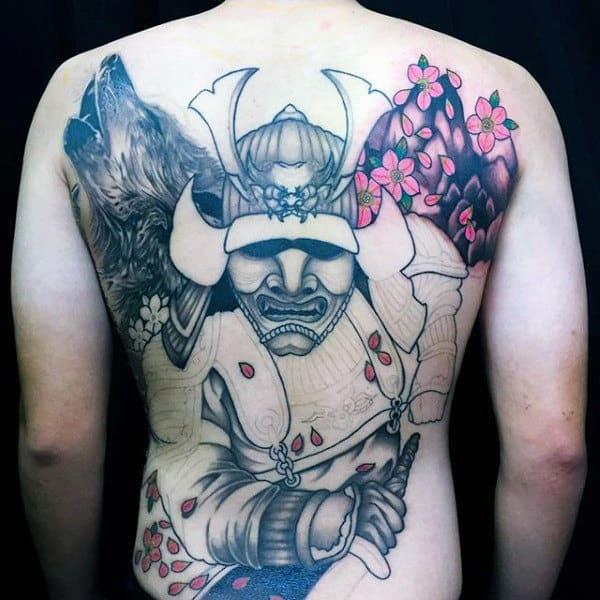 Japanese Warrior Samurai Helmet Mens Full Back Tattoos