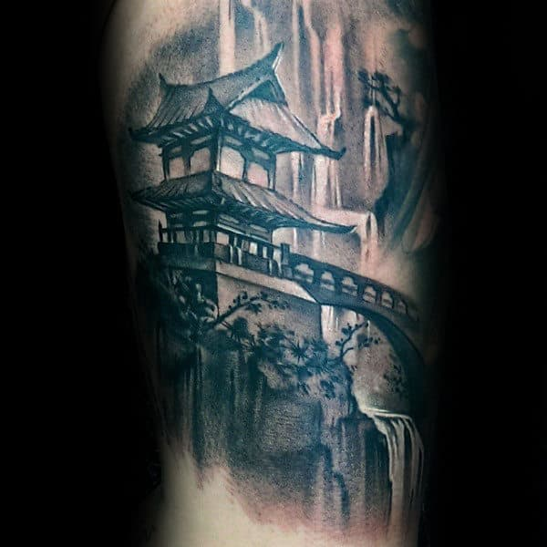 Japanese Waterfall Male Tattoo Designs On Arm