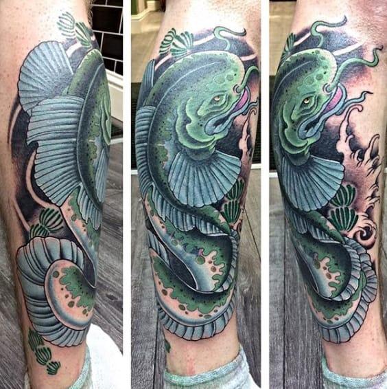Japanese Waves Mens Catfish Lower Leg Tattoo Designs