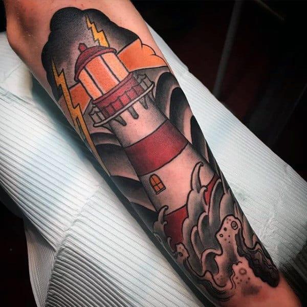 Japanese Waves Mens Lighthouse Nautical Tattoo Ideas On Forearm