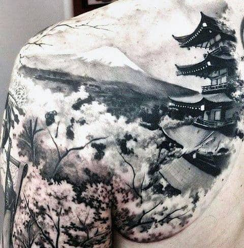 Japanese White Ink Mountain Building Back Tattoo
