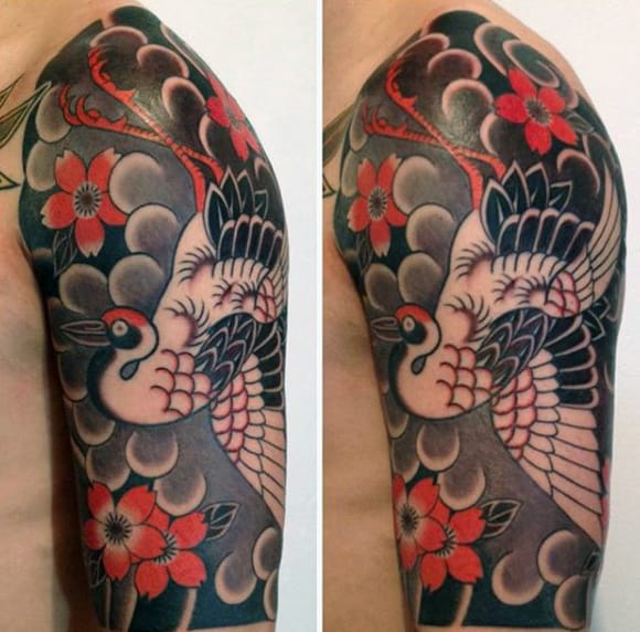 Japansese Sleeve Pretty Bird Tattoo For Males