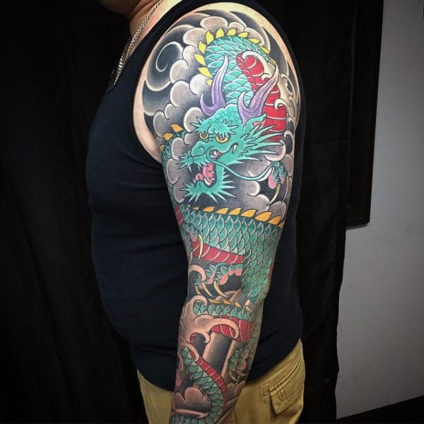 Jazzy Dragon Tattoo Male Ful Sleeves