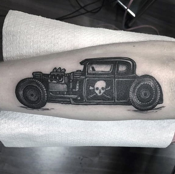 Jeep With Danger Symbol Hot Rod Tattoo Male Forearms