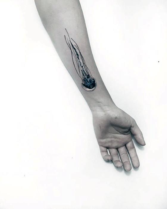 Jellyfish Guys Small Detailed Tattoo Design Ideas On Inner Forearm