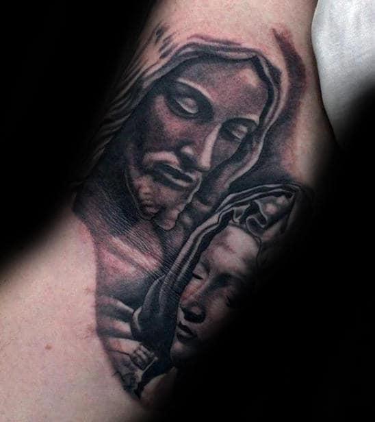 Jesus And Virgin Mary Mens Inner Arm Bicep Tattoos