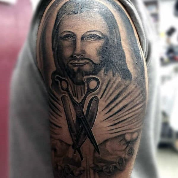 Jesus Barber Tattoo For Men Holding Scissors And Razor