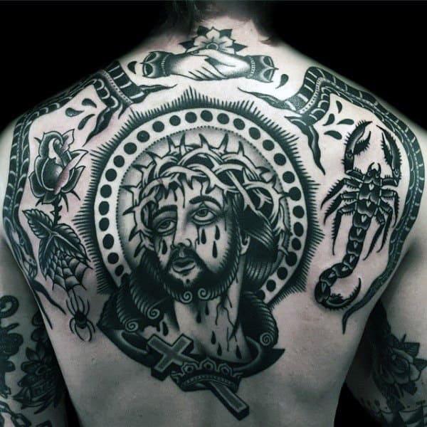 Jesus Christ Cross Traditional Mens Back Tattoos
