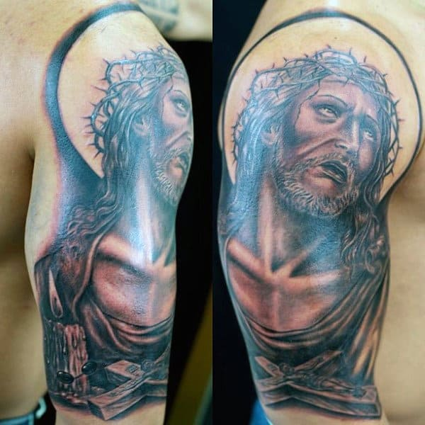 Jesus Christ Half Sleeve Tattoos Rosary Beads Men