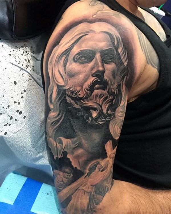 Jesus Christ Mens Crazy Religious Half Sleeve Tattoos