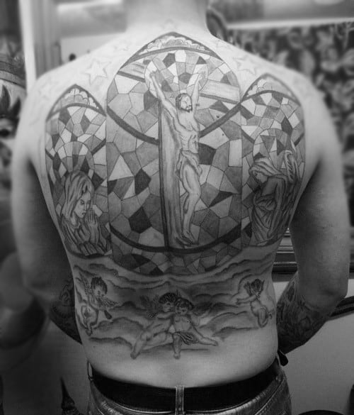 Jesus Christ Mens Full Back Stained Glass Tattoo