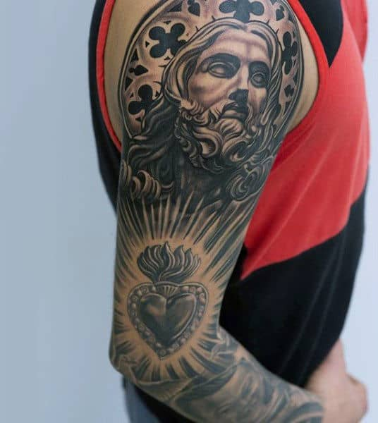 Jesus Christ Mens Heart Full Sleeve Tattoo