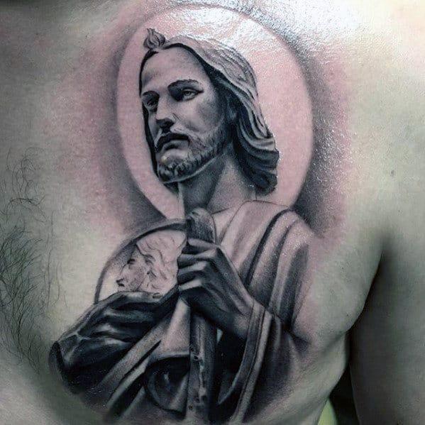 Jesus Christ Shepherd Male Upper Chest Tattoos