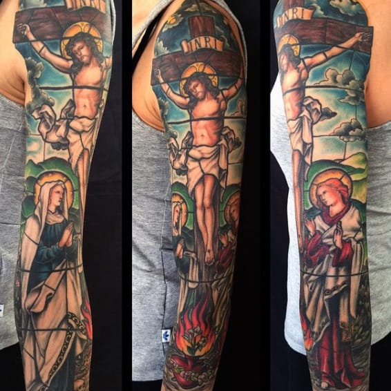 Jesus Christ Themed Full Mens Stained Glass Sleeve Tattoo