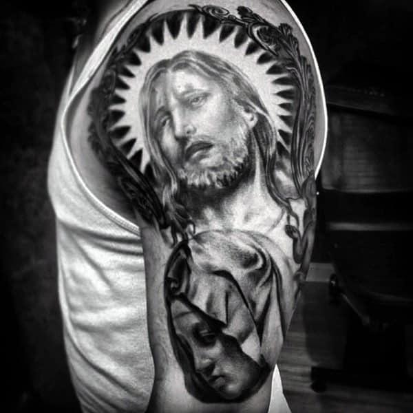 Jesus Christian Shoulder Tattoos For Males