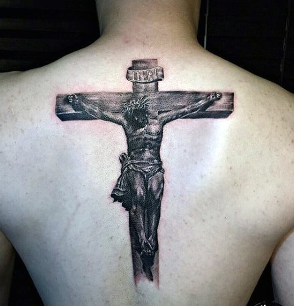 Jesus Cross Mens Realistic 3d Back Tattoos
