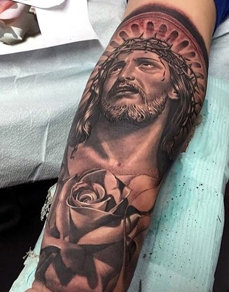 Jesus Crown Of Thorns Tattoo For Men Leg Sleeve