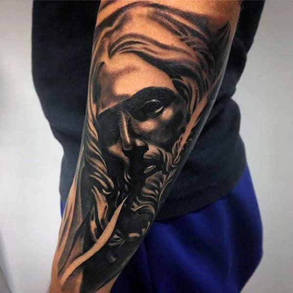 Jesus Face Catholic Mens Outer Forearm Tattoo