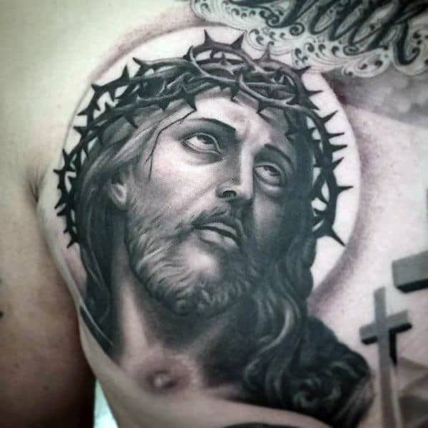 Jesus Face Mens Upper Chest Tattoo Design With Cross