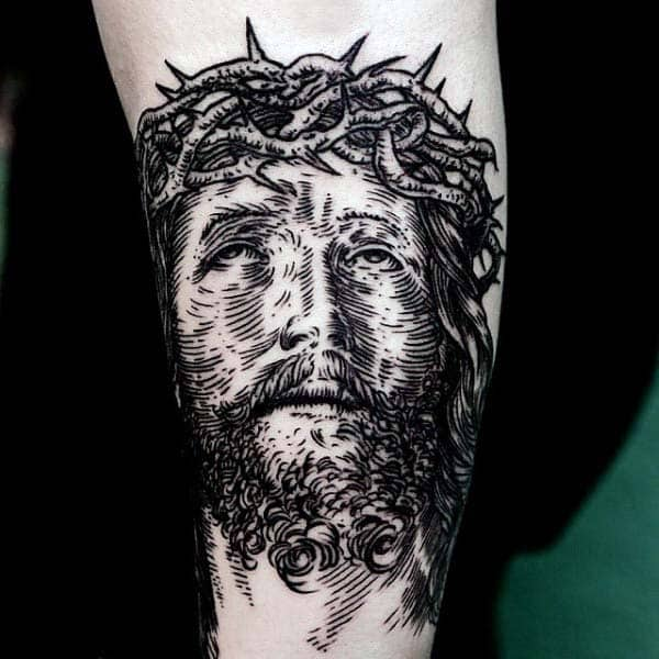 Jesus Face Portrait Woodcut Mens Inner Forearm Tattoo