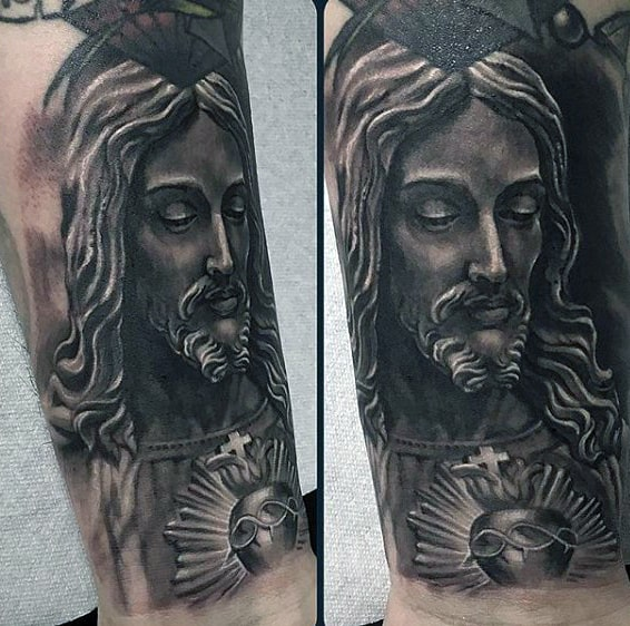 Jesus Heart Tattoo On Mans Wrist