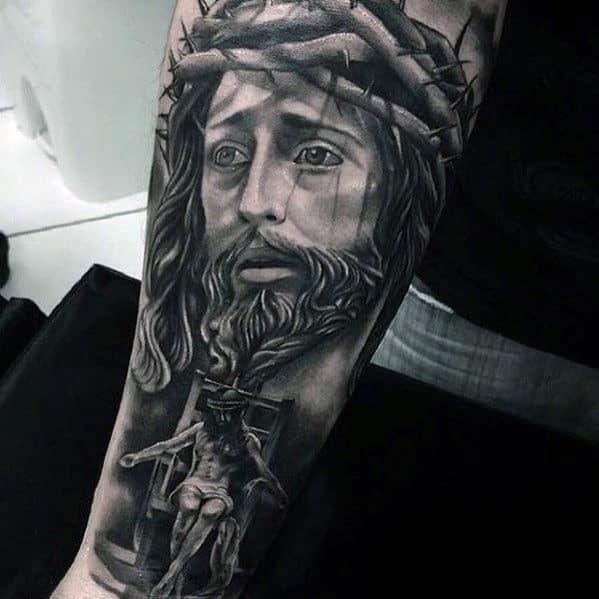 Jesus In Chair Mens Heavily Shaded Inner Forearm Tattoos