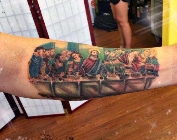 Jesus Last Supper Tattoo For Guys On Inner Forearm Full Color Ink