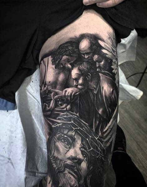Jesus Male Leg Tattoo With Realistic Design