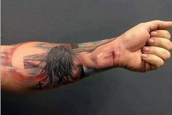 Jesus Nailed To Cross Christian Forearm Tattoo For Men