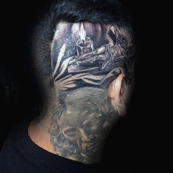 Jesus On Cross Mens Head Tattoos