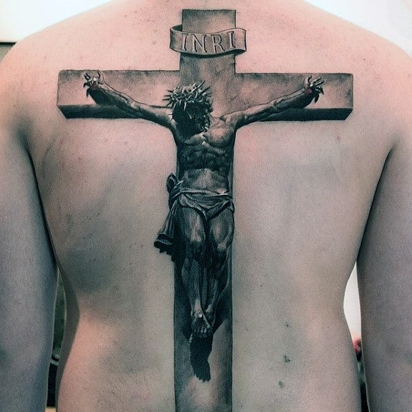 Jesus On The Cross Realistic 3d Mens Detailed Full Back Tattoos